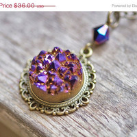 Violet &amp; Gold Druzy Agate Necklace Sparkly Textured in Vintage Brass Setting Cable Chain Titanium Drusy