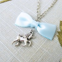 Unicorn Necklace Fairy Tale Charm Blue Bow