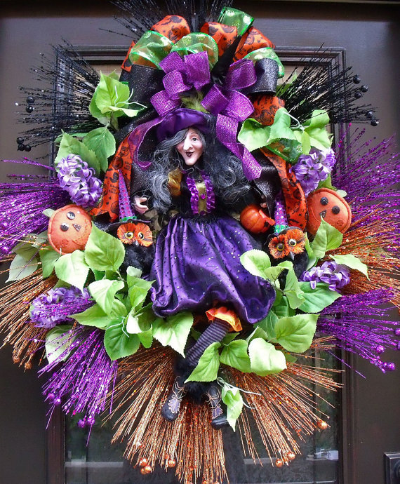 Halloween wreath witch wreath fall door from luxewreaths on for Decoration xxl