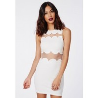Missguided - Sandy Scallop Shift Dress White