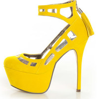Michael Antonio Studio Lavonne Yellow Velvet Cutout Pumps - $109.00