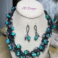 Chunky Black Leather Green Lamp work Glass Crochet Necklace set