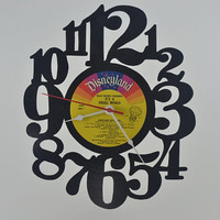 Music Art Unique Handmade Vinyl Record Album Clock (artist is Disneyland its a small world)