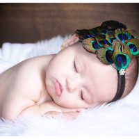 Baby Girls Headbands-Newborn Headband-Infant-Baby headband-Peacock Headband-Flapper-Feather Fascinator-Photography Prop