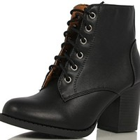 Soda Women's Korman Faux Leather Lace Up High Chunky Heel Ankle Booties