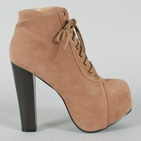 Leah-01 Lace Up Platform Bootie