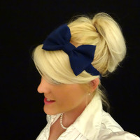 Navy blue bow stretch headband pinup/retro/feminine/nautical