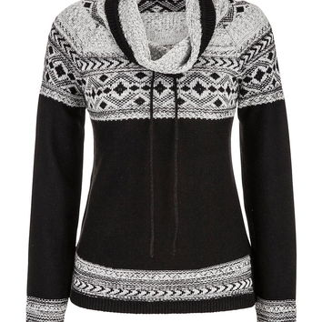 patterned funnel neck sweater