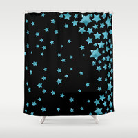 Starry Magic - Blue Shower Curtain by Lisa Argyropoulos
