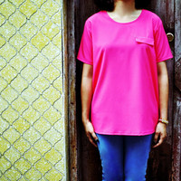 Neon Pink Tshirt Spring Fashion Short Sleeve Top Fuchsia Sheer Blouse 14 L