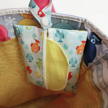 Snap On Wipes Holder with 100% Cotton Yellow Flannel Wipes-- Infant Wipes/ Reusable Tissue Cute Patterns Available... Ready to Ship