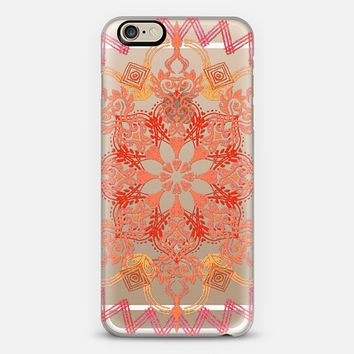 Shades of Coral - Floral Medallion on Crystal Transparent iPhone 6 case by Micklyn Le Feuvre   Casetify