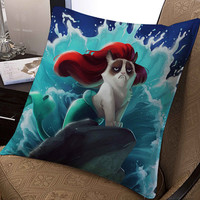 "ariel little mermaid grumphy cat pillow ---- pillow one and two side by  ""galaxyplatinum"","