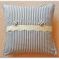 French cotton ticking and lace cushion cover with piped edge and button fastening 40cm