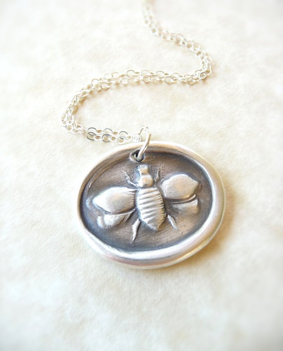 bee wax seal necklace pendant jewelry from dreamofadream