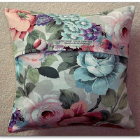 "Vintage Sanderson ""Albury"" floral fabric cushion cover in pastel shades of pink, blue, lilac and green 14 inch 35cm"