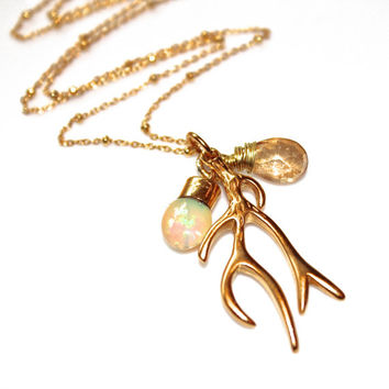 Gold Antler Necklace - Nature Inspired Jewelry - Opal Necklace - Antler Necklace - Deer Necklace - Antler Jewelry - Woodland Necklace