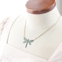Dragonfly Necklace. Dragonfly Chocker. Verdigris dragonfly short necklace. Art nouveau necklace