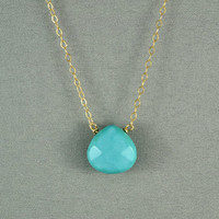 Beautiful Turquoise Heart Necklace, Wire Wrapped Bead, 14K Gold Filled Chain, also in Sterling Silver