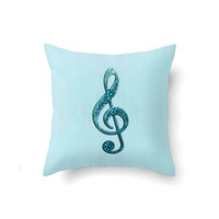 Aqua Pillow Cover with Treble Clef, G Clef novelty pillow cover, indoor or outdoor throw pillow covers in 16 x 16, 18 x 18 or 20 x 20 inch