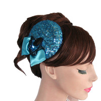 Blue glittered cocktail hat, teal bow, glittered, unique item, handmade