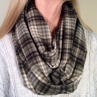 Handmade Infinity Scarf Plaid Flannel - Women, Men, Double  Layer Circle -  Olive Green, Cream, Black, Christmas Present, Holiday Gift
