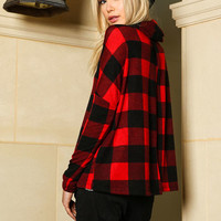 Red Cowl Neck Knit Plaid Top