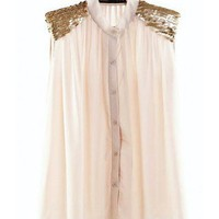 Ivory Sleeveless Chiffon Loose Fold Shirt  style shirt052
