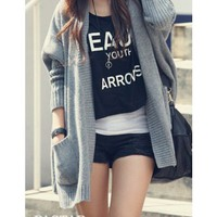Grey Free Size Women/Girl Loose Bat-wing Sleeves Cardigan/Sweater@T629g
