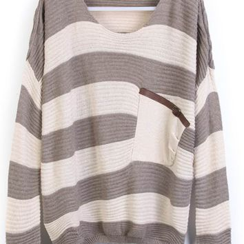 Grey Stripes Loose Sweater with Pocket - Sheinside.com
