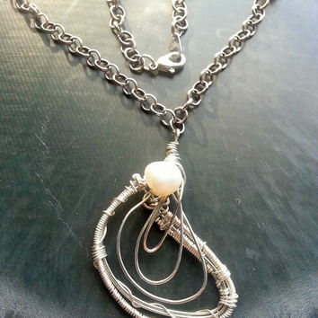 Wire Wrapped Pearl Necklace Abstract Art Jewelry Oyster Sea Life Nature Inspired Nautical Silver Pearl Handcrafted One of a Kind Artistic