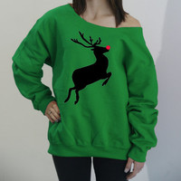 Reindeer with red nose - slouchy off the shoulder soft fleece lined sweatshirt. Christmas sweater. Cute Christmas shirt. Holiday sweater