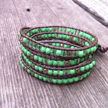 Beaded Leather 4 Wrap Bracelet with Lime Green Czech Glass Beads on Brown Leather