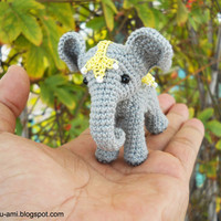 Baby Elephant Miniatures Grey Lace Blanket Art doll by suami