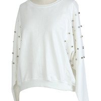 Rivet Cut Out White Jumper - New Arrivals - Retro, Indie and Unique Fashion