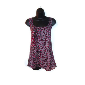 Pink Cheetah Print Chiffon Bow Tank Top Womens Clothing XL
