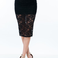 The Big Reveal Lace Pencil Skirt