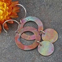 Hammered and Heat Oxidized Copper and Sterling Silver Earrings.