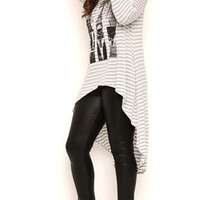 Plus Size Long Sleeve High Low Stripe Top with City Screen Print