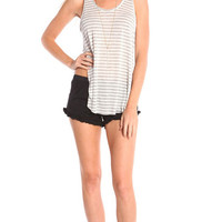 GREY STRIPED TANK WITH SIDE SLITS