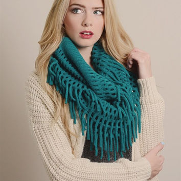 Chenille Tassel Infinity Scarf in TEAL