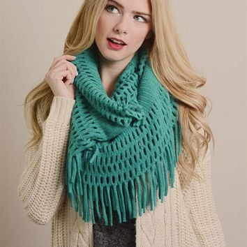 Chenille Tassel Infinity Scarf in Turquoise