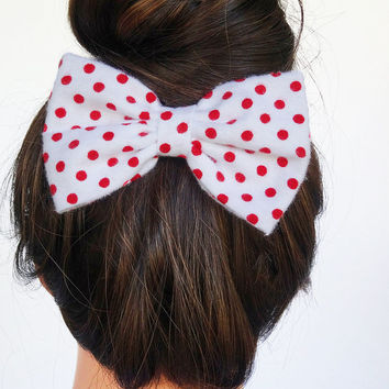 White and Red Hair Bow Clip Red Polka Dot bow Red bow big bow White Hair clip Retro Hair Clip Bows for Hair Red Polkadot Hair Bow Cute Bows