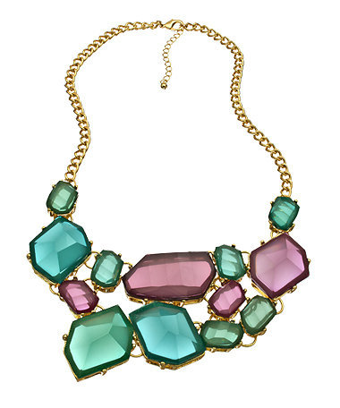 Blu Bijoux Turquoise and Purple Freeform Bib Necklace - Max & Chloe