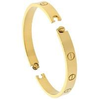 Stainless Steel Screw Head Bangle Bracelet for Women Oval Gold tone 7mm wide, sizes 6.5 -7.5 inch