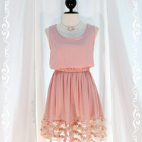 Lady Princess - Sweet Lovely Pastel Pink Nude Sundress Sleeveless Simply Style See Through Flower Hemmed XS-S