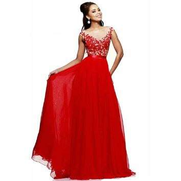 Promplan Red Lace Chiffon Full Length Long Prom Dresses