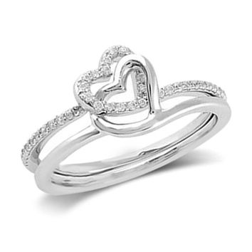 1/7 CT. T.W. Diamond Entwined Hearts Promise Ring in Sterling Silver