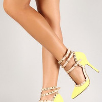 Neon Yellow Studded Heels