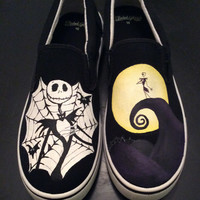 Nightmare Before Christmas Hand Painted Shoes, Birthday Gifts, Custom Designed